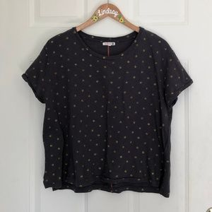 Anthropologie Sundry Tee with Gold Poke-a-dots